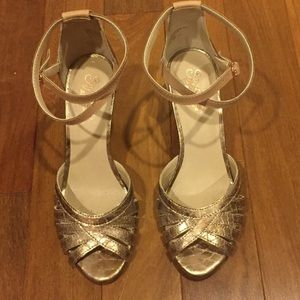 Seychelles rose gold strappy shoes